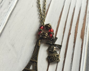 Antiqued Bronze Tone Paris Pendant Necklace with Red Glass Beads and Eiffel Tower / Moulin Rouge Charms