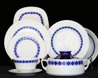 Mid Century Modern China Set, Mid Century Modern Dishes, MCM China Set, MCM Dish Set, Cobalt and White Dishes, Danish Modern Dish Set, MCM