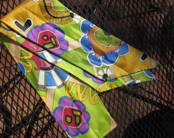 "Pop Art  Silky head scarf a la Rhoda Morgenstern--64"" long by 4 5/8"" wide"