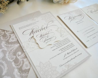 Lace Ivory, Champagne Wedding Invitation, Rustic Elegance- (NOT A SAMPLE LISTING)- Color/wording/materials Customizable