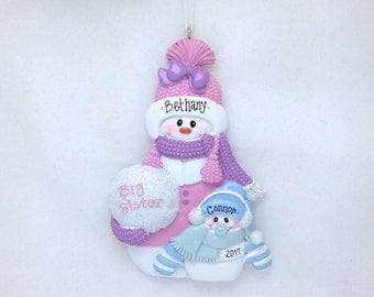 Big Sister and Little Brother Personalized Christmas Ornament / Sibling Ornament / Snowman Ornament / New Baby Ornament