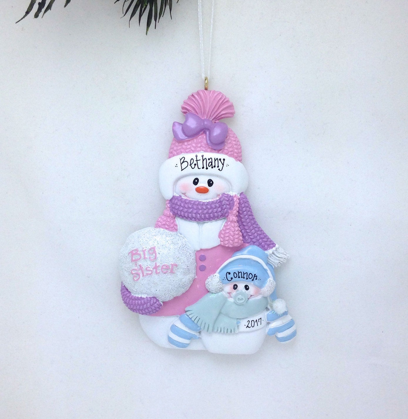 New baby christmas ornament - Free Shipping Big Sister And Little Brother Personalized Christmas Ornament Sibling Ornament Snowman Ornament New Baby Ornament