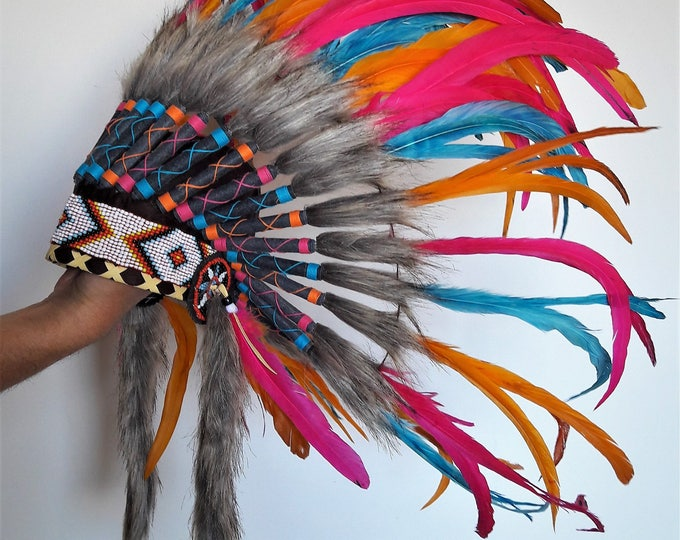 N27 - From 4-6 years Kid / Child's: Turquoise , orange, pink  and black feather Headdress 21 inch. – 53,34 cm.