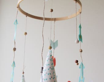 Teepees & Fox Woodlands Baby Mobile - Mint/Orange - Tribal Chic Nursery Decor