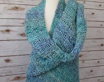 Aqua Blue and Purple Knit Shawl - Elegant Waterfall Shawl - Hand Knit Lace Wrap - Blue Green Shawl - Blue Fringed Shawl - Wedding or Cruise