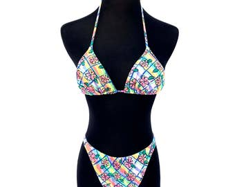 90's vintage colorful vibrant striped crayon floral printed hi cut high waisted bikini two piece bathing suit swim suit SMALL