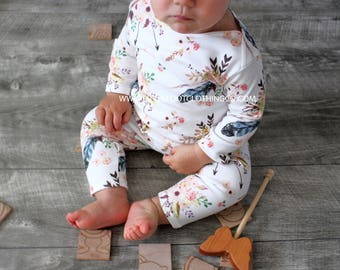 Baby girl romper, baby girl clothes, organic romper, organic baby clothes, boho clothing, boho romper, boho flowers, infant clothing