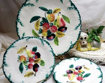 Vintage 1950s, Dessert Plate Set of 5, Hand Painted Fruit Motif, Green Accents with Fruit Center, Marked N P S Italy