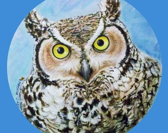 """ALTERA 2017 Great Horned Owl.  Season 5 ~ Original, hand-painted, One-of-a-kind!  8"""" canvas circle - FREE shipping USA"""
