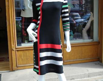 Dress knit dress GEO women's dress size S color block dress size S