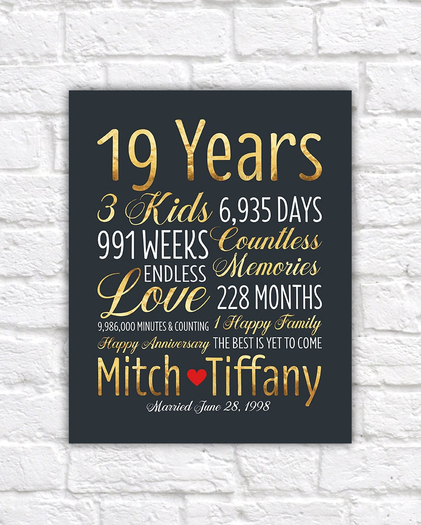 Gifts For 19th Wedding Anniversary: Personalized Wedding Anniversary Gift 19th Anniversary 19