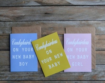 Irish newborn baby card trio, gaeilge baby, irish baby boy, irish baby girl, baby, gaelic, Irish language, made in Ireland, comhghairdeas