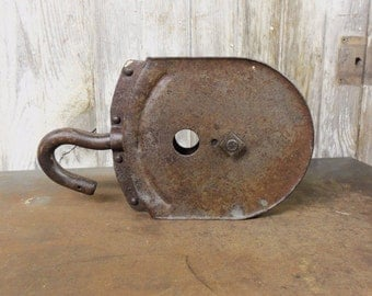 Farm Primitive All Steel Pulley Rustic Condition Urban Farmhouse Industrial Look Pulley
