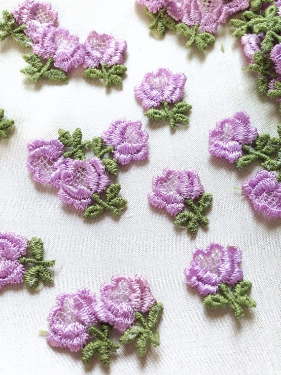 Lavender flower applique s vintage embroidery appliques