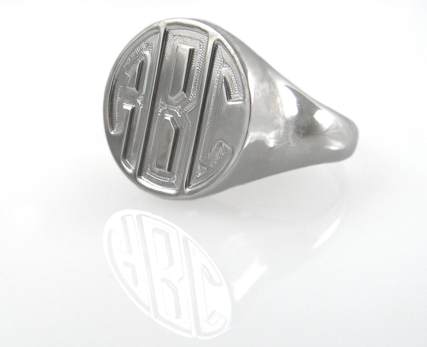 monogram ring sterling silver ring silver monogram ring
