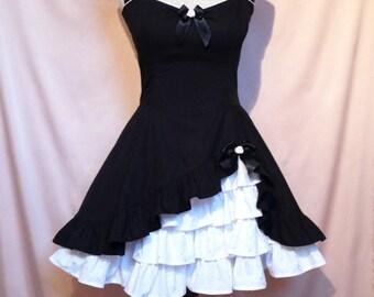 Sew Romantic...Goth Lolita Black Cotton Dress Halter Neck With Built in Petticoat Custom Made to Order