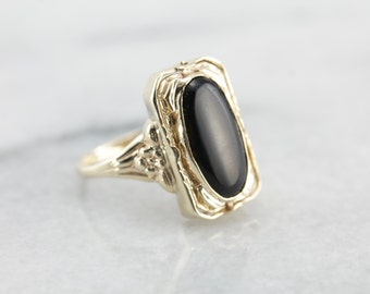 Shell Cameo and Black Onyx Flip Ring in Yellow Gold 715RFR-D