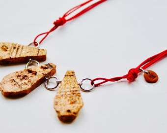 COLLAR light natural cork - adjustable - customizable - recycled Cork - stainless steel - green resin