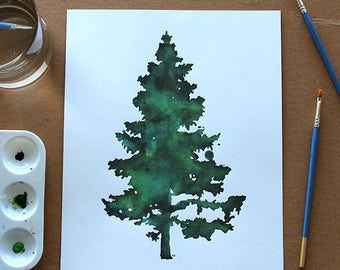 Englemann Spruce Tree Silhouette Watercolor Print
