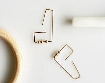 ABACUS EARRINGS | gold earring, wire earrings, minimalist, geometric, hook earrings, dangle earrings, mobile earrings, mobile earring |