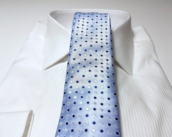 Slim Tie (2.75 inch) in Polka Dots Midnight Marine Navy Blue White on Light Powder Blue (POCKET SQUARE also available)