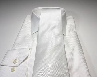 White Tonal Stripe Solid Tie