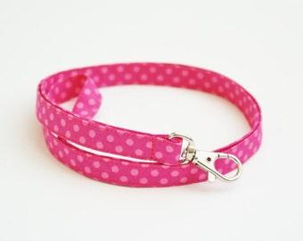 Pink Dot Skinny Fabric Lanyard with Swivel Clasp - Thin Key Lanyard - ID Badge Holder - Key Strap - Teacher Lanyard - Cute Thin Lanyard