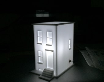 Lighted brownstone nightlight - small brooklyn row house - battery powered light - nyc townhouse light - matte white mini architecture