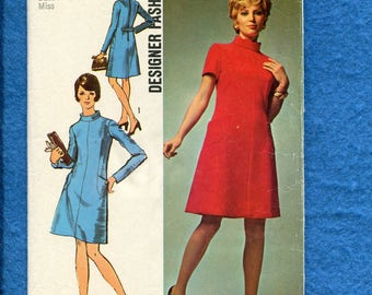 1970's Simplicity 8909 Star Trek Stewardess Chic A-Line Dress with Stand Up Collar Size 12