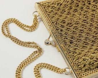 1940s Vintage gold lamé bag
