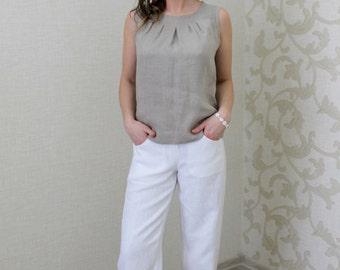 Natural Sleeveless Linen Top
