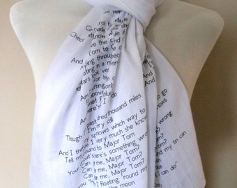 David Bowie Scarf. Musical scarf with 'Space Oddity' print. Poetry scarf.