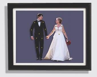 Wedding Couple Personalized Dolls - Custom Made & Framed
