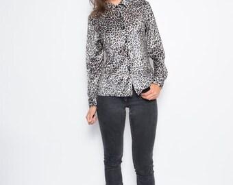 Vintage 90's Velvet Leopard Print Button Top / Velvet Leopard Print Long Sleeve Blouse - Size Medium