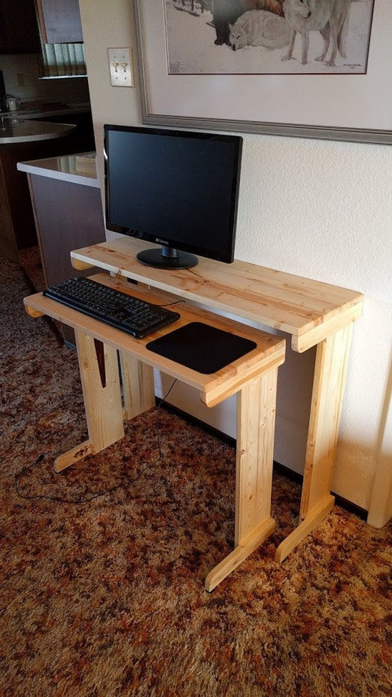 Computer desk wood small nested compact