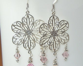 Swarovski Crystal Earrings in Light Rose Pink and Silver - So Pretty!
