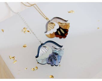 Nouveau Flower Pendant Necklace. Mother-of-Pea Tortoiseshell. Laser Cut Acrylic Perspex. Marbled Floral Art Deco Retro. Silver Gold Glitter.