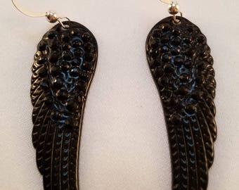 Black wing earrings