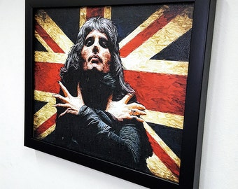 Freddie Mercury The Queen- Framed - Wall Art Giclee Canvas Paint - Great Rock'n'Roll Home Decor- Bohemian Rhapsody