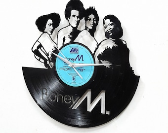 Boney M Wall  Art -Vinyl LP Record Clock or Framed Vinyl-Great Rock'n'Roll Gift ,Vinyl Wall Clock,Wall records clock