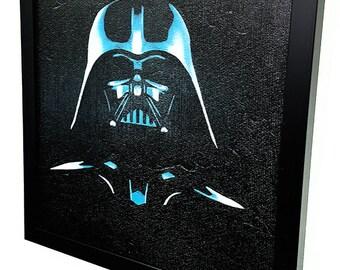 Darth Vader-_-Framed Wall Art Giclee Canvas Paint Star Wars Inspired-Darth Vader painting-darth vader poster-star wars painting mixed media