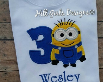 Minion appliquéd shirt with embroidered name and birthday number