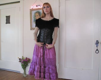 90's Crushed Velvet and Pleather Corset Blouse sz Med