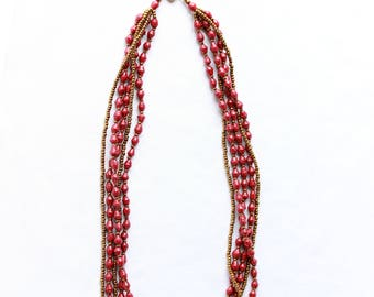 Red & Gold African multi-strand beaded necklace