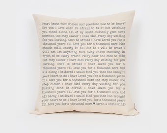 Custom Song Lyric Pillow, Personalised Song Lyrics, 2nd Anniversary Cotton Gift, Gift for Husband, Rustic Home Decor, Throw Pillow