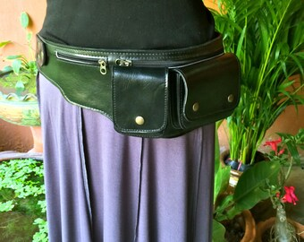 Leather Waist Bag / Fanny Pack / Hip Bag / Utility Belt / Burning Man / Travel Belt / Money Belt / 4 Pocket Belt / Pouch  - The Explorer