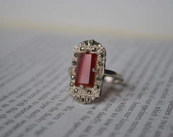 Antique Sterling Carnelian Marcasite Ring - 1920s Art Deco Ring