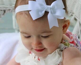 White Bow Headband, White Headband, White Baby Headband, Newborn Headband Bow, White Hair Bow, White Hair Accessories, Flower Girl Headband