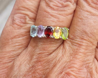 healing chakra ring size 7 1/2 1970's 2.5ct genuine gems designer signed estate vintage sterling ring