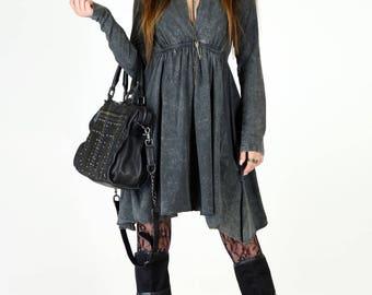 Long Sleeve Grecian Goddess Pocket Dress - Black